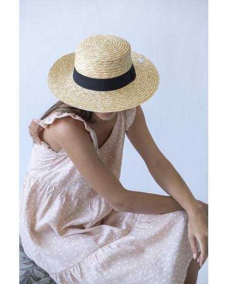 Καπέλο Φυσικό χρώμα με Μαύρη κορδέλα