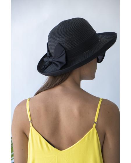 Καπέλο Μαύρο με Μαύρο Φιόγκο