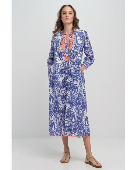 Φόρεμα Καφτάνι Μακρύ Μπλε