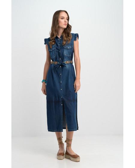 Φόρεμα Μακρύ Τζην με κουμπιά