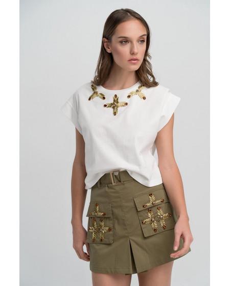 Τ-Shirt λευκό με κρύσταλλα