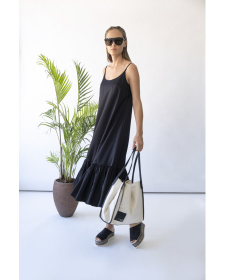 Φόρεμα Μάξι με τιράντες και βολάν BY IOANNA KOURBELA