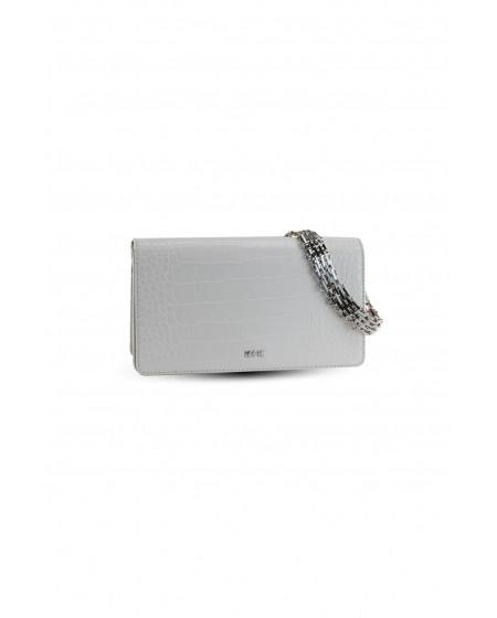 Τσάντα ώμου κροκό λευκή με αλυσίδα KENDALL+KYLIE