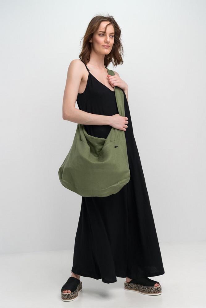 Τσάντα Λινή Λαδί BY IOANNA KOURBELA