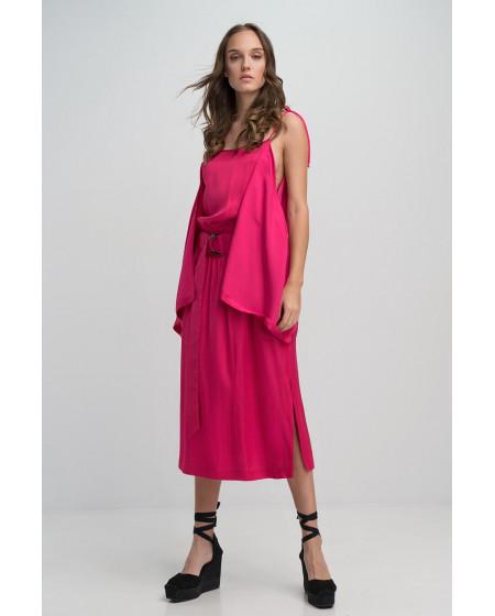 Φόρεμα Midi Saten Φουξ