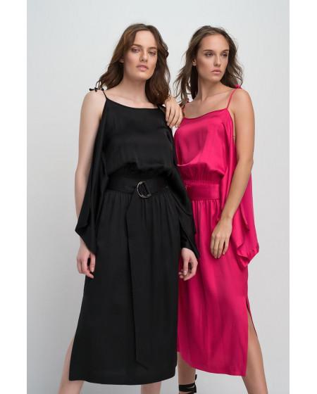 Φόρεμα Midi Saten Μαύρο
