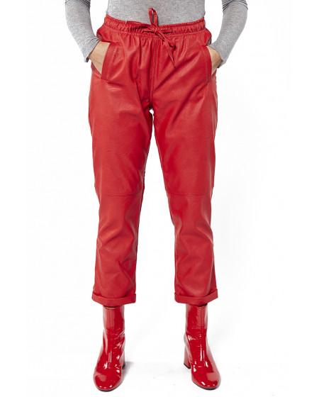 Παντελόνι Jogger Δερματίνη Κόκκινο